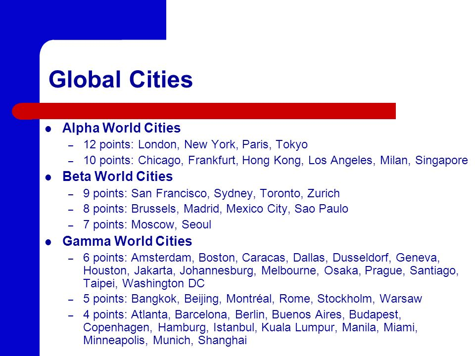 Global Cities Alpha World Cities Beta World Cities Gamma World Cities