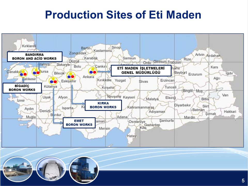 Production Sites of Eti Maden