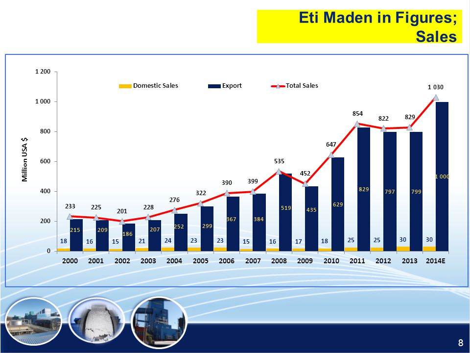 Eti Maden in Figures; Sales