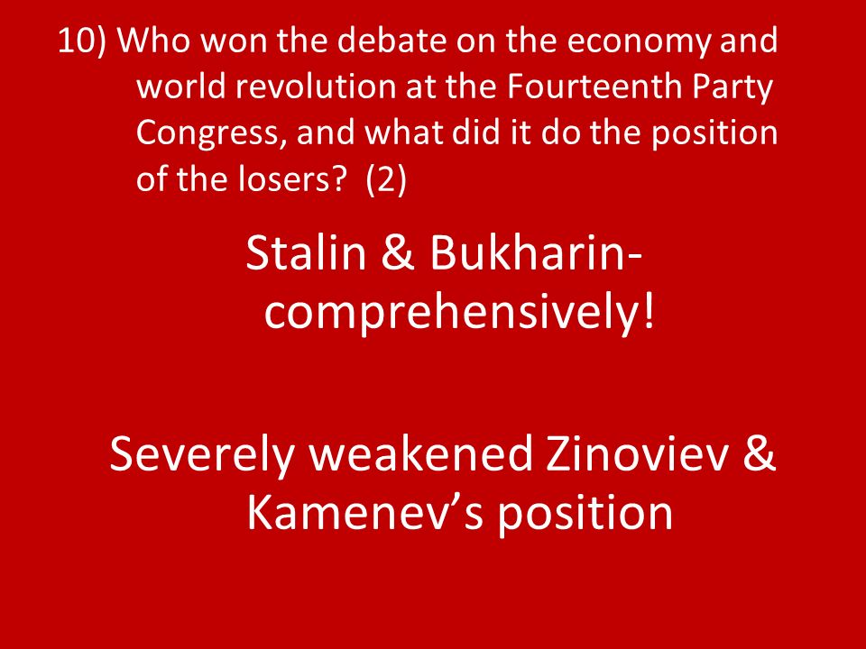 Stalin & Bukharin- comprehensively!