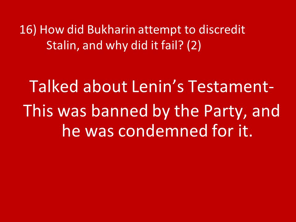Talked about Lenin's Testament-