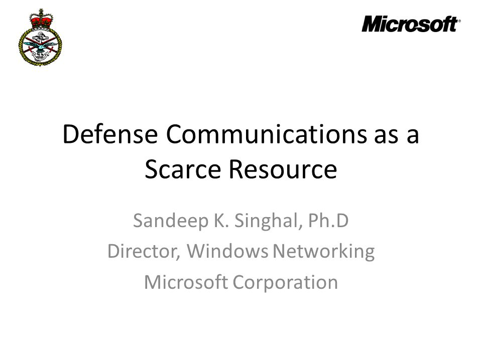 Defense Communications as a Scarce Resource
