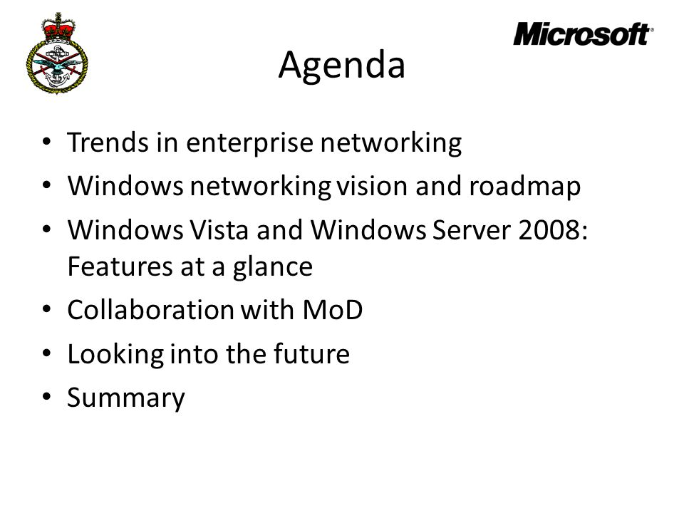 Agenda Trends in enterprise networking
