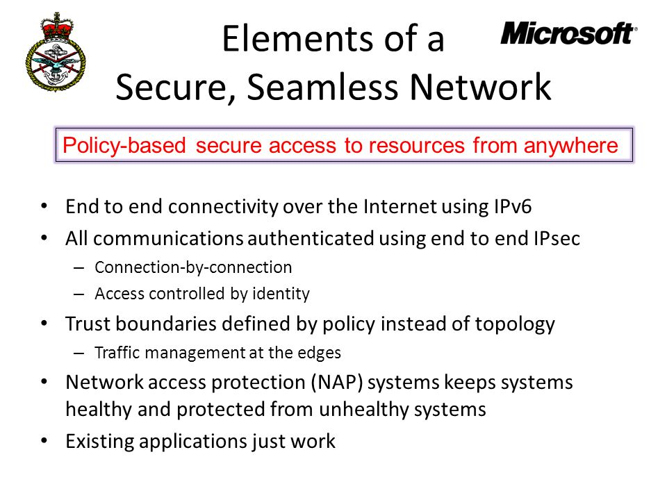Elements of a Secure, Seamless Network