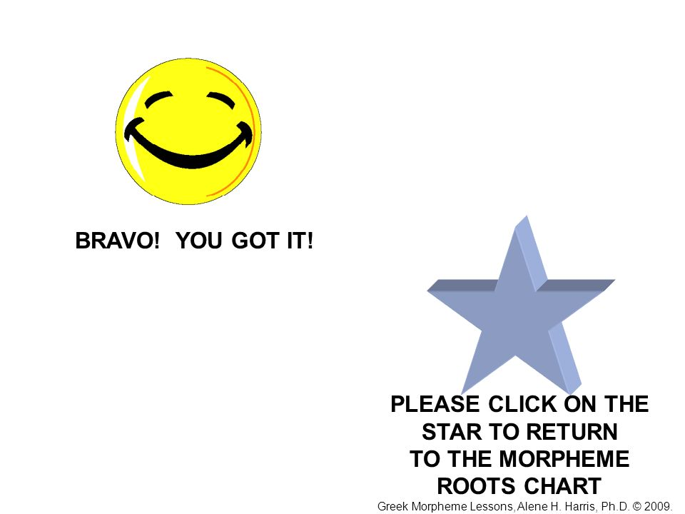 PLEASE CLICK ON THE STAR TO RETURN TO THE MORPHEME ROOTS CHART