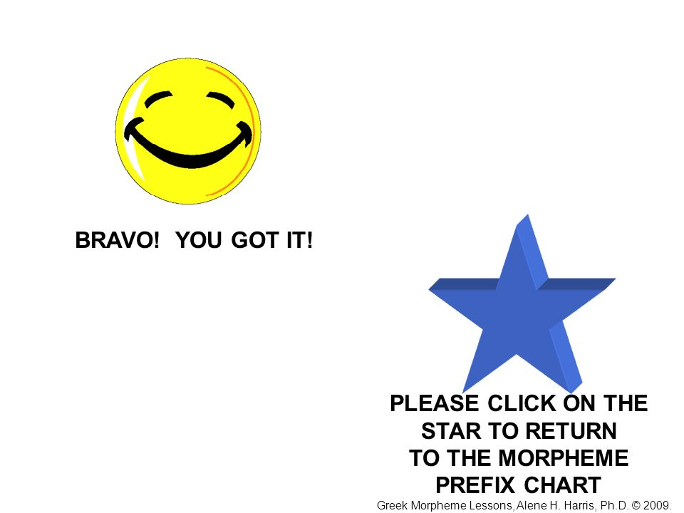 PLEASE CLICK ON THE STAR TO RETURN TO THE MORPHEME PREFIX CHART