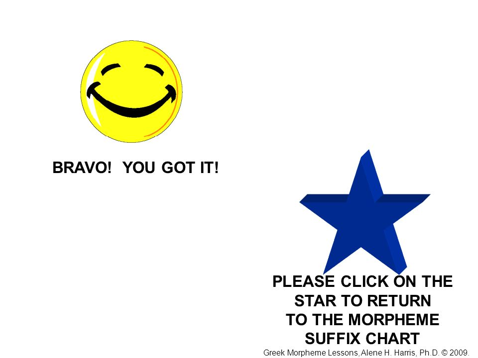 PLEASE CLICK ON THE STAR TO RETURN TO THE MORPHEME SUFFIX CHART