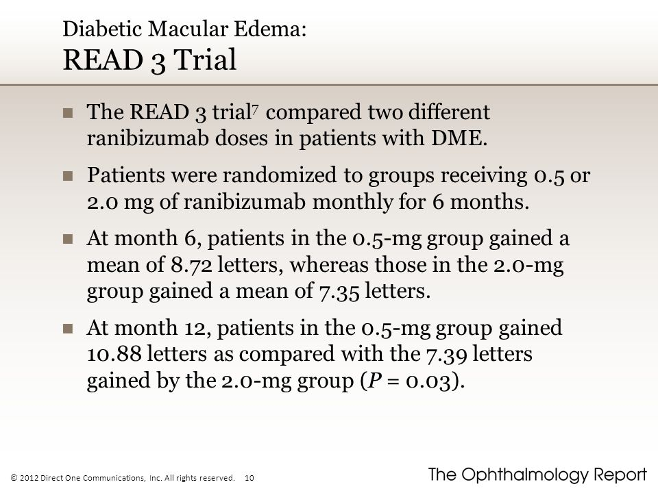 Diabetic Macular Edema: READ 3 Trial