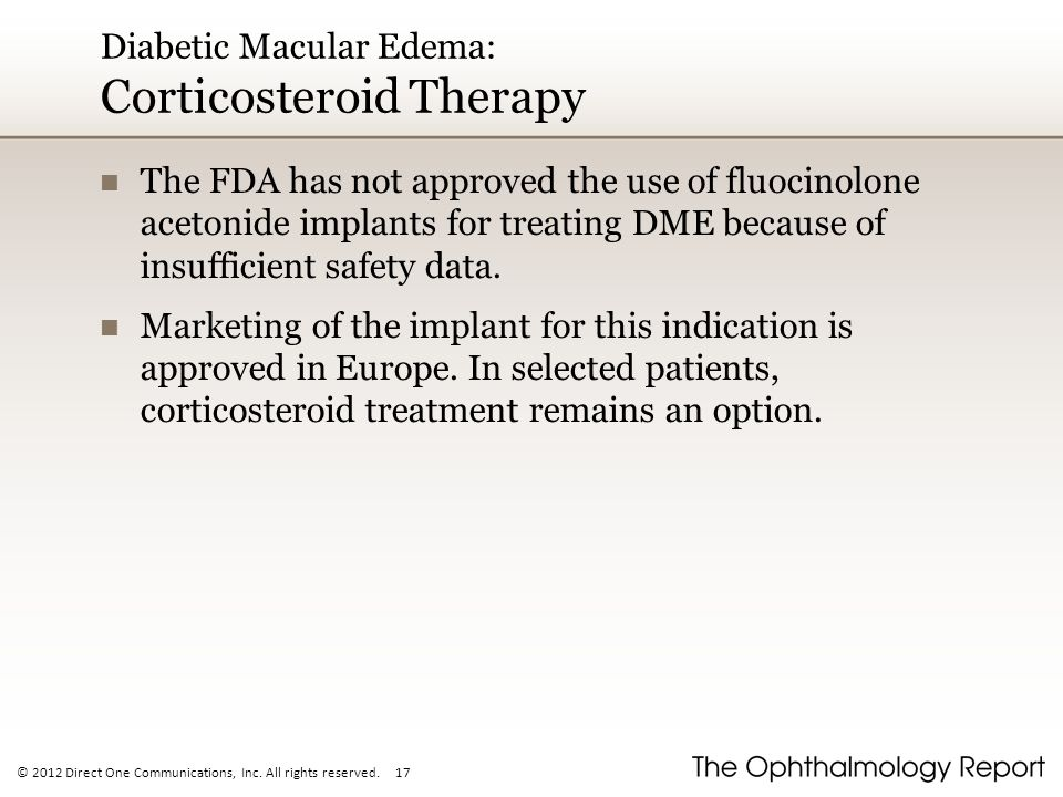 Diabetic Macular Edema: Corticosteroid Therapy