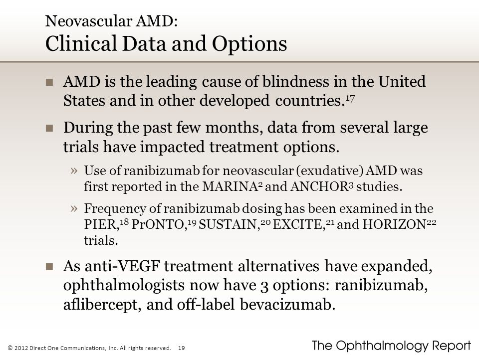 Neovascular AMD: Clinical Data and Options
