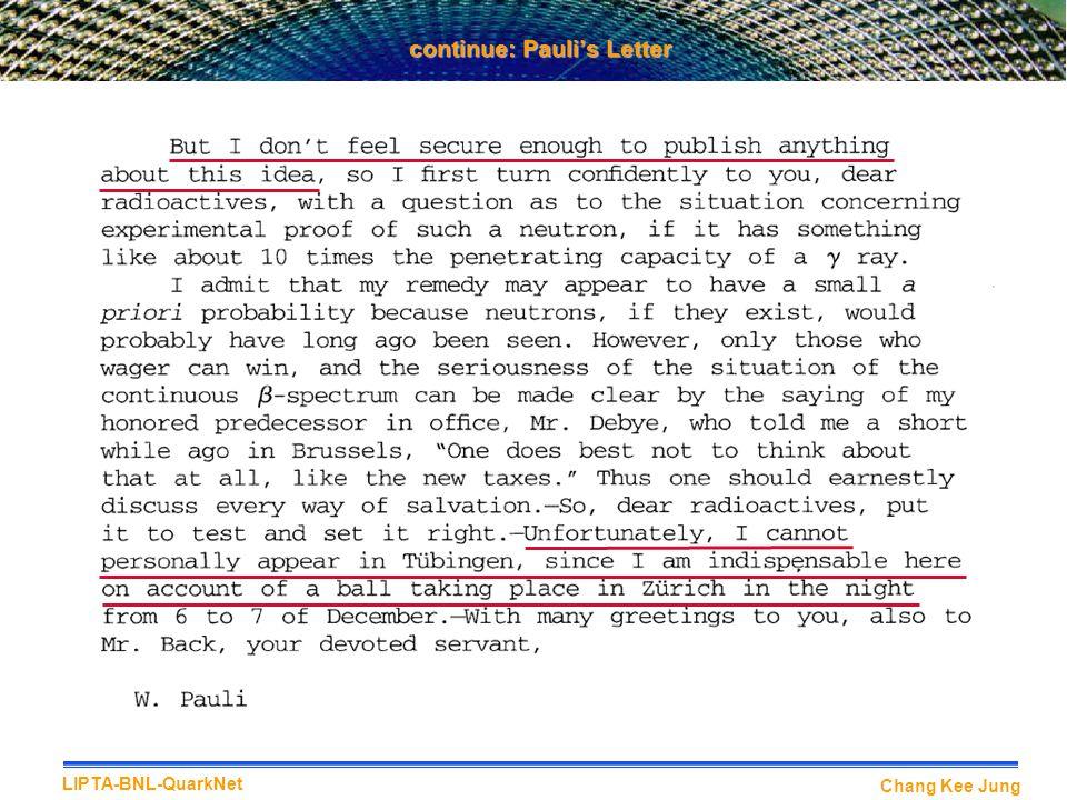 continue: Pauli's Letter