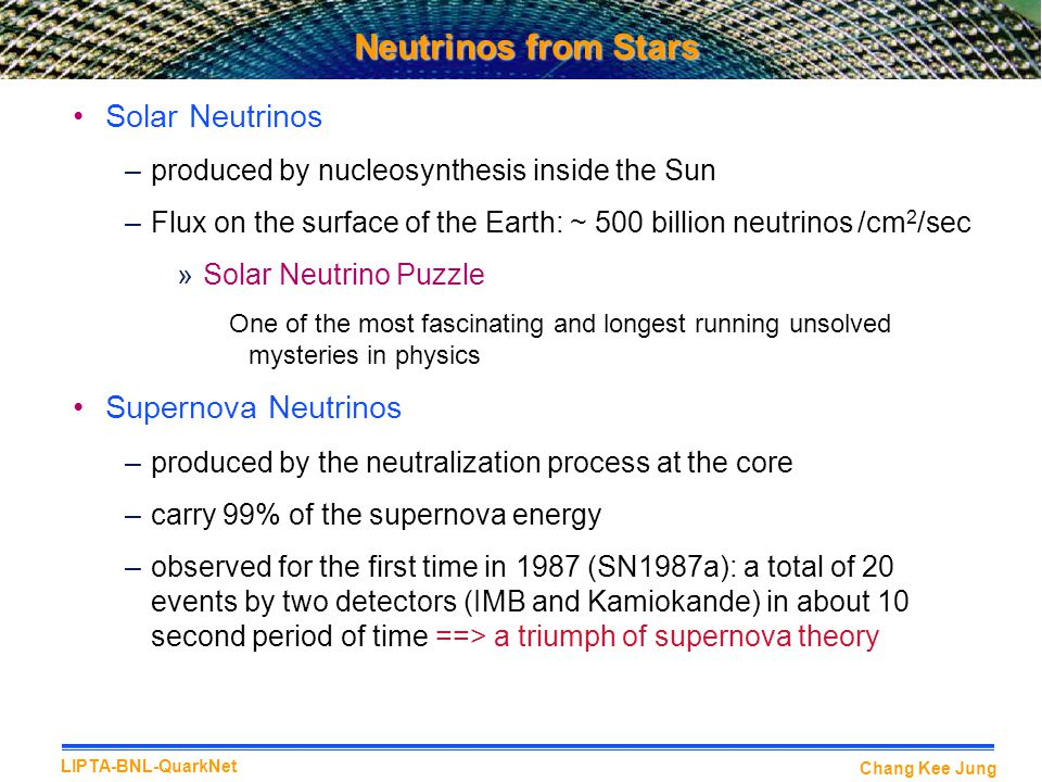 Neutrinos from Stars Solar Neutrinos Supernova Neutrinos