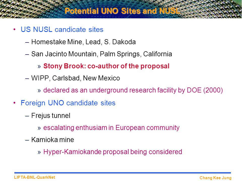 Potential UNO Sites and NUSL