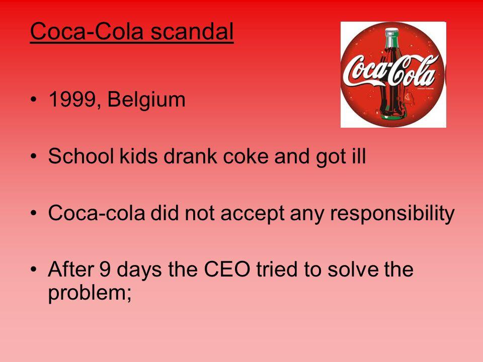Coca-Cola scandal 1999, Belgium School kids drank coke and got ill
