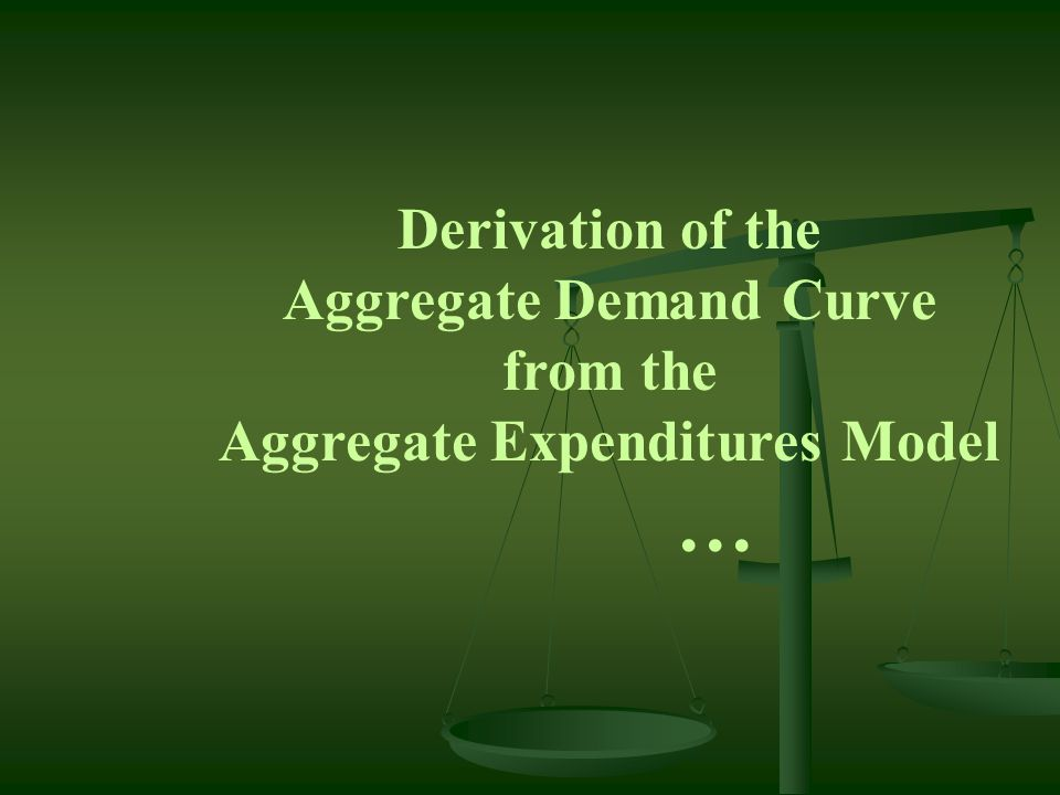 Aggregate Demand Curve Aggregate Expenditures Model