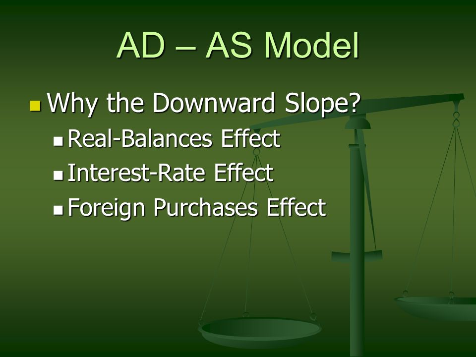 AD – AS Model Why the Downward Slope Real-Balances Effect