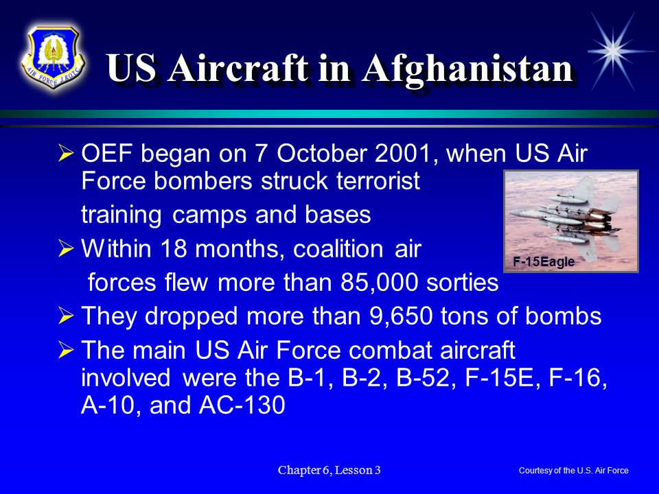 US Aircraft in Afghanistan