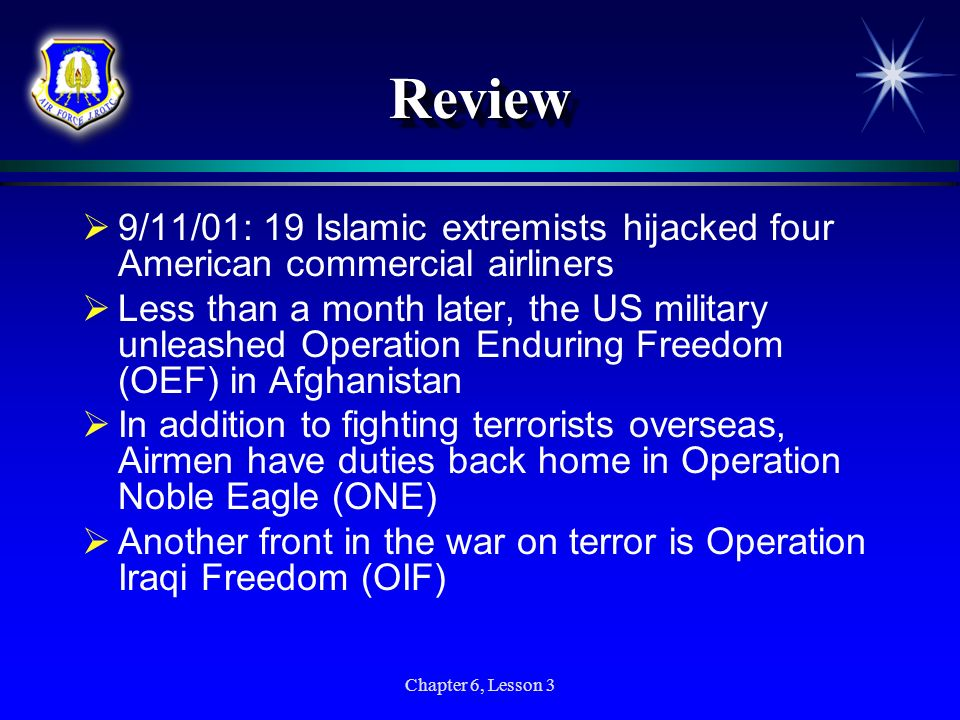 Review 9/11/01: 19 Islamic extremists hijacked four American commercial airliners.