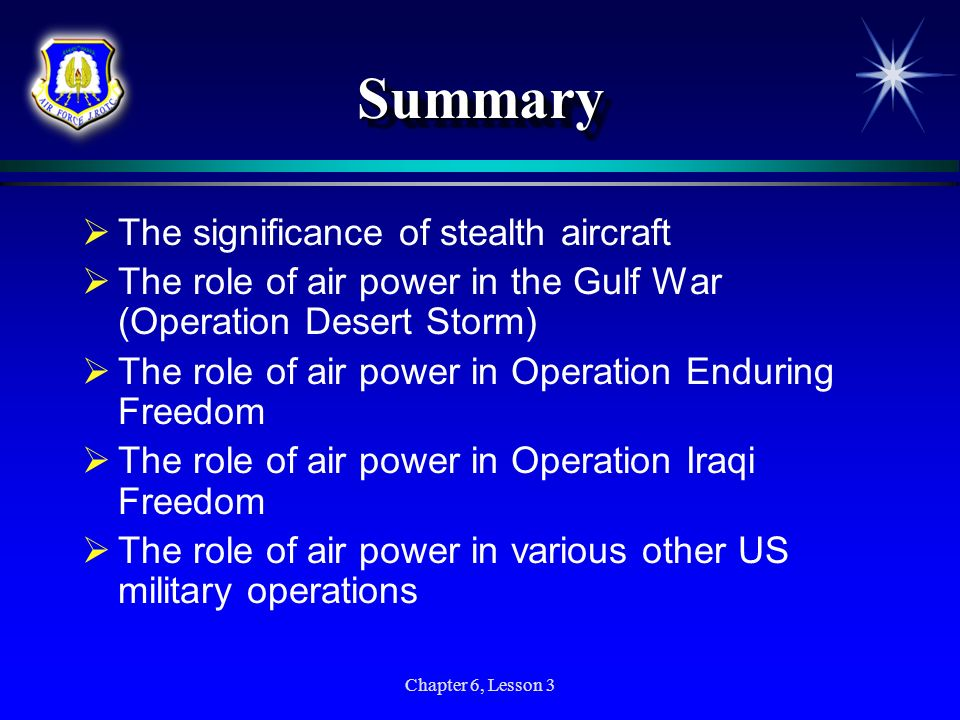 Summary The significance of stealth aircraft