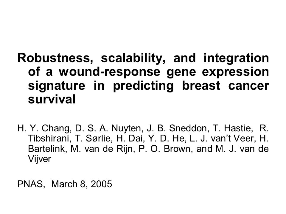 Robustness, scalability, and integration of a wound-response gene expression signature in predicting breast cancer survival