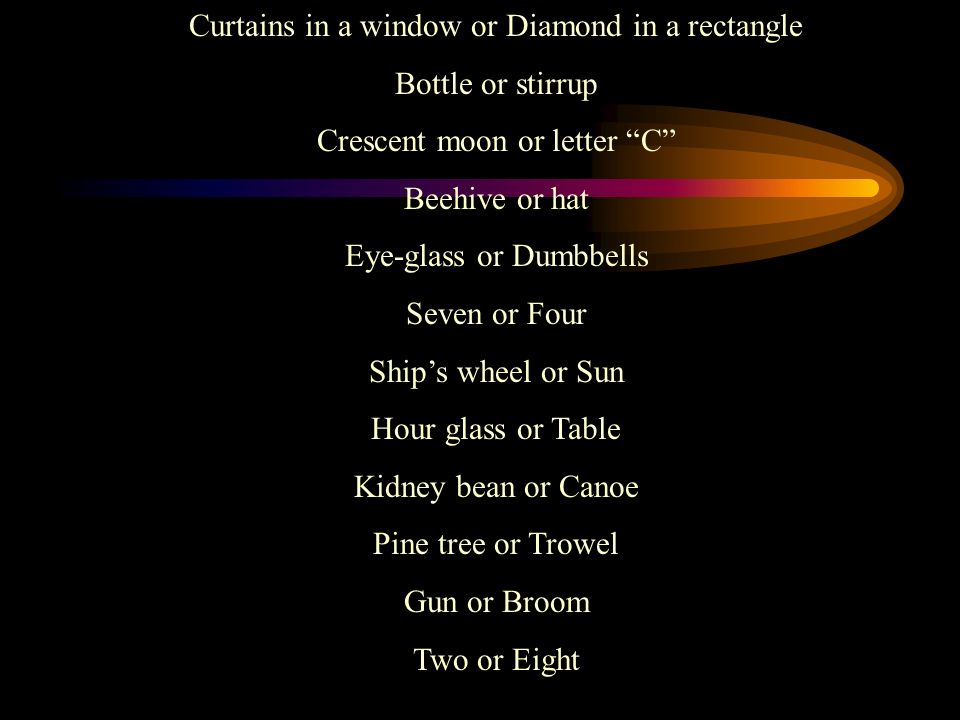 Curtains in a window or Diamond in a rectangle Bottle or stirrup