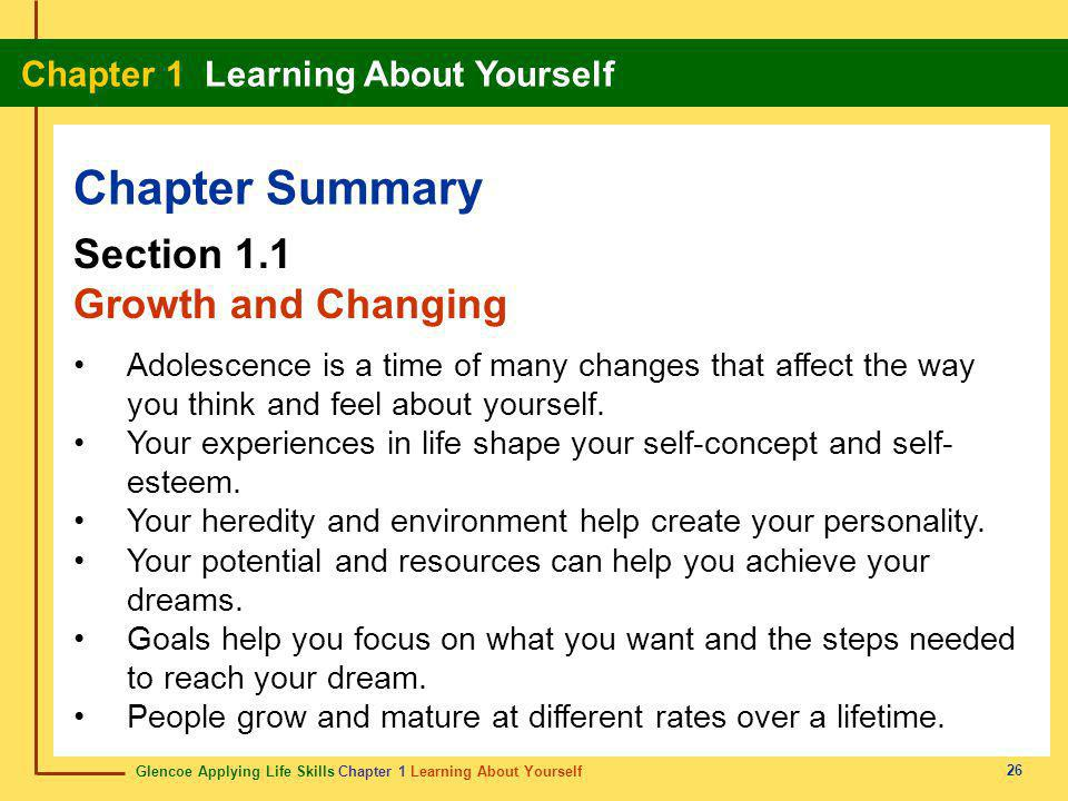 Chapter Summary Section 1.1 Growth and Changing