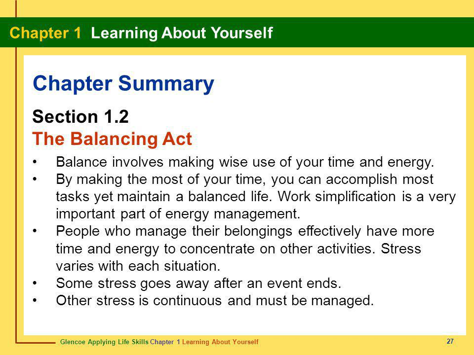 Chapter Summary Section 1.2 The Balancing Act