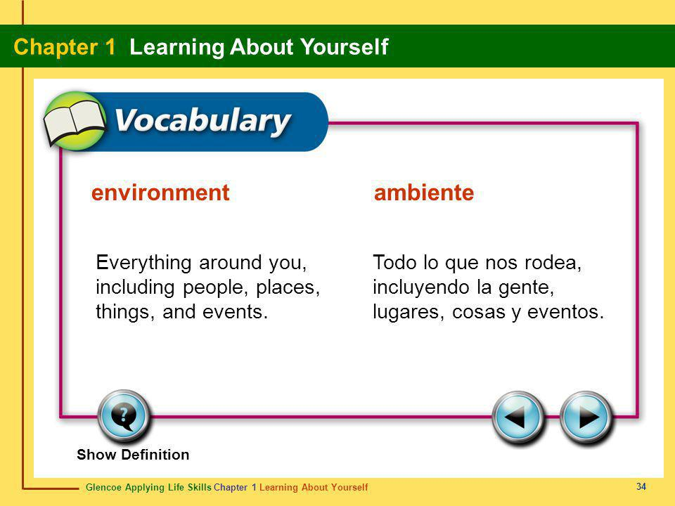 environment ambiente Everything around you, including people, places, things, and events.