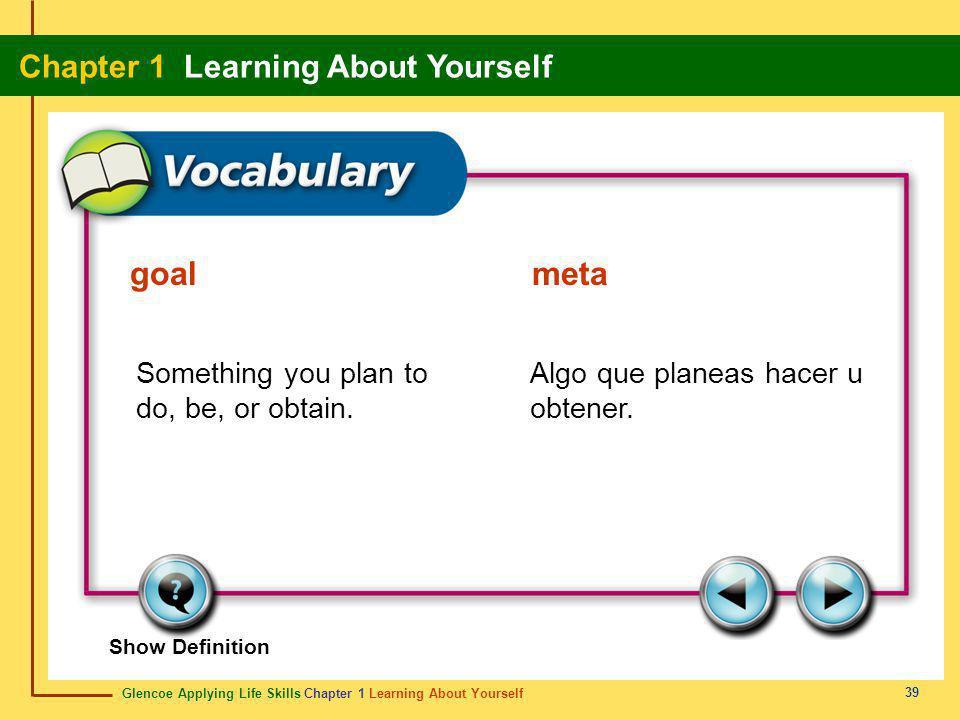 goal meta Something you plan to do, be, or obtain.
