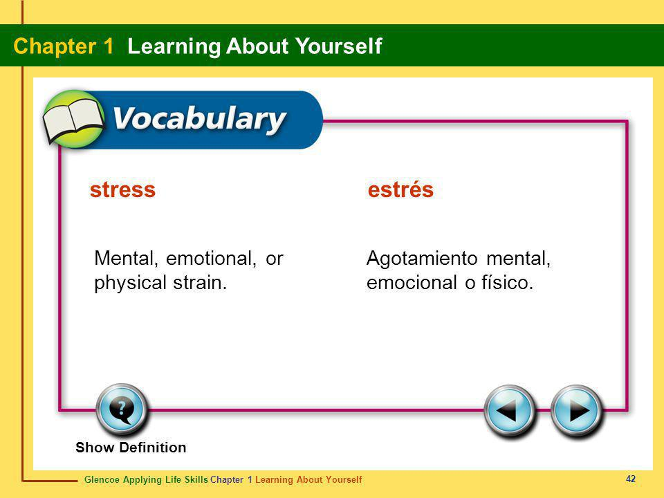 stress estrés Mental, emotional, or physical strain.