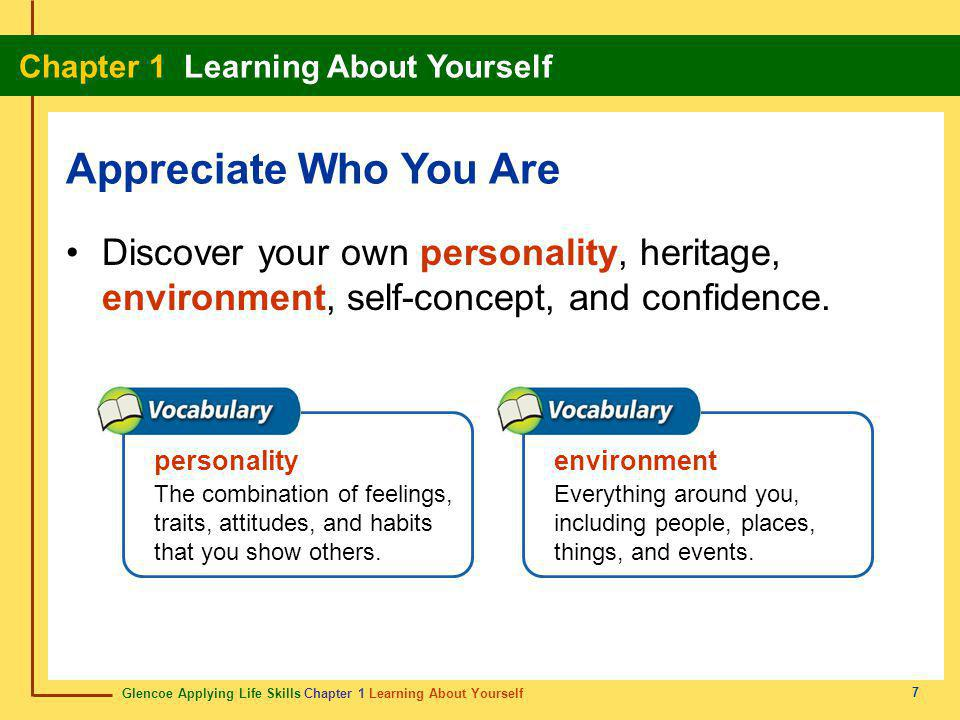 Appreciate Who You Are Discover your own personality, heritage, environment, self-concept, and confidence.