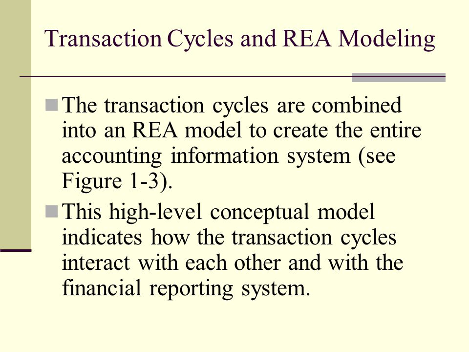 Transaction Cycles and REA Modeling