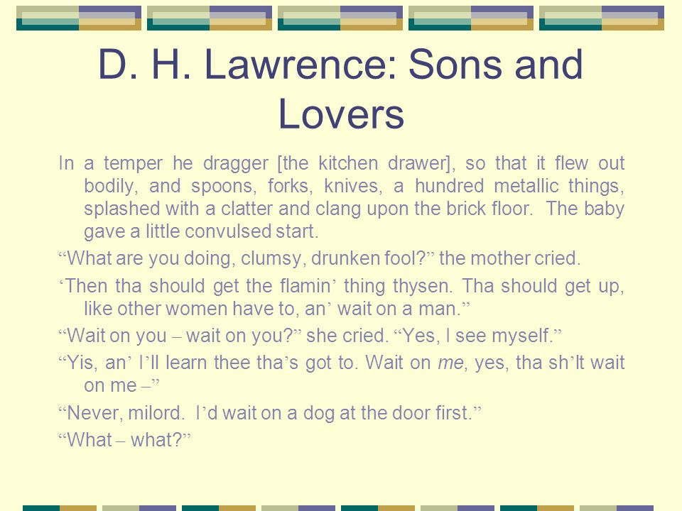 D. H. Lawrence: Sons and Lovers