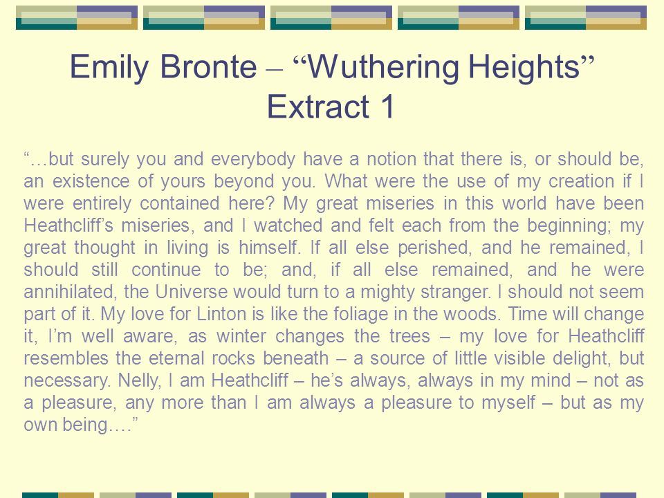 Emily Bronte – Wuthering Heights Extract 1
