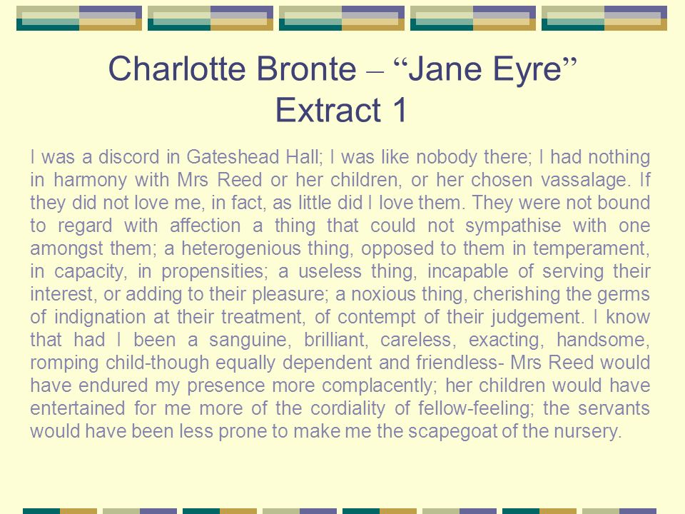 Charlotte Bronte – Jane Eyre Extract 1