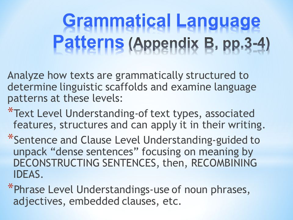 Grammatical Language Patterns (Appendix B, pp.3-4)