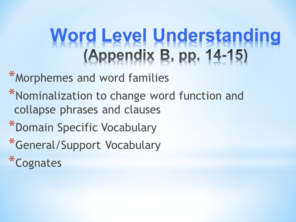 Word Level Understanding (Appendix B, pp. 14-15)