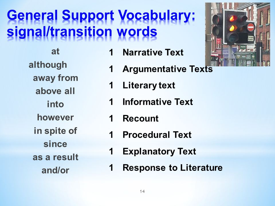 General Support Vocabulary: signal/transition words