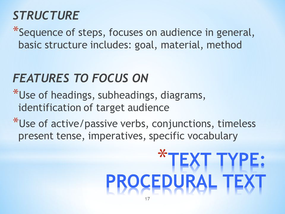 TEXT TYPE: PROCEDURAL TEXT