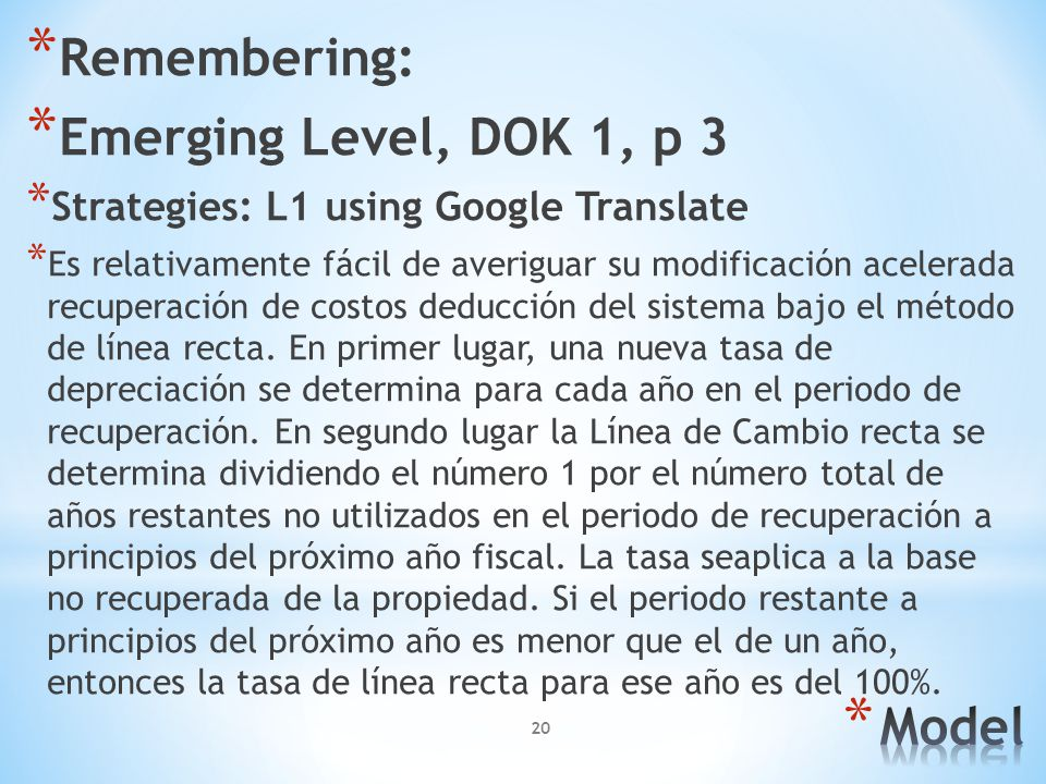 Remembering: Emerging Level, DOK 1, p 3 Model
