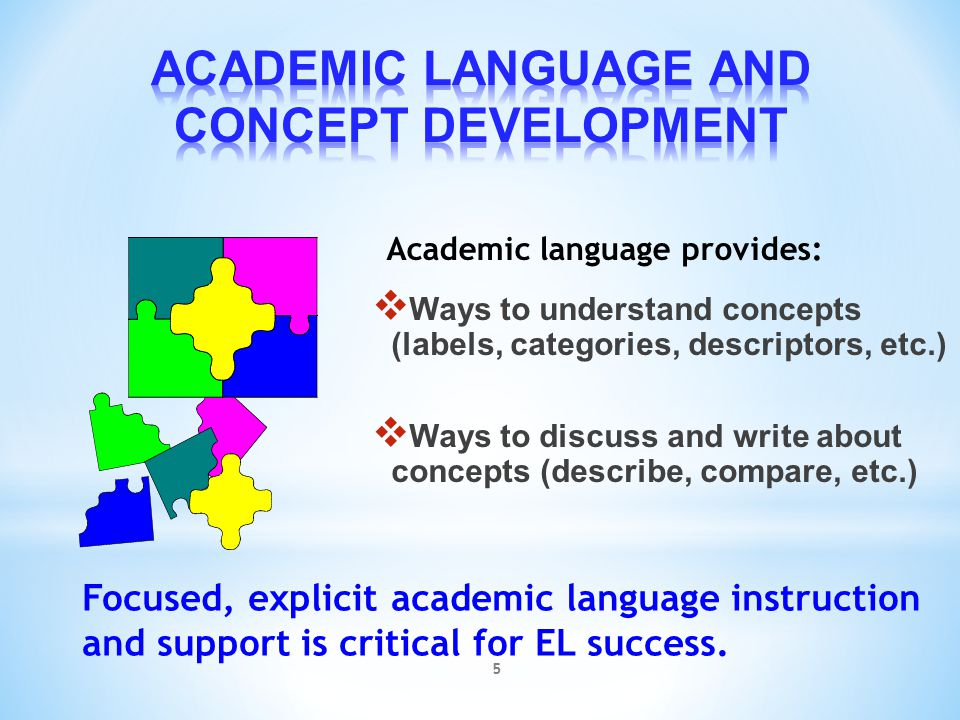 ACADEMIC LANGUAGE AND CONCEPT DEVELOPMENT