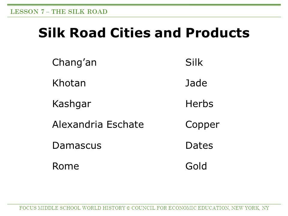 Silk Road Cities and Products