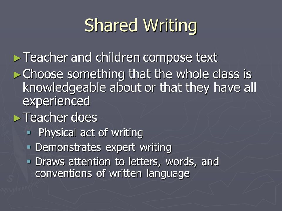Shared Writing Teacher and children compose text