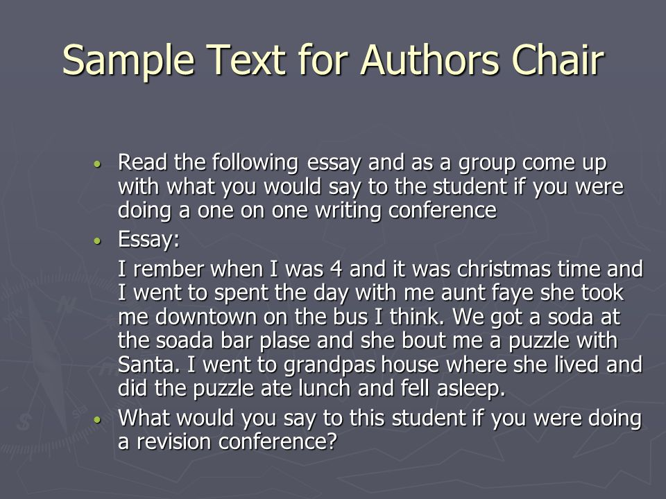 Sample Text for Authors Chair
