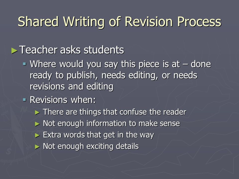 Shared Writing of Revision Process