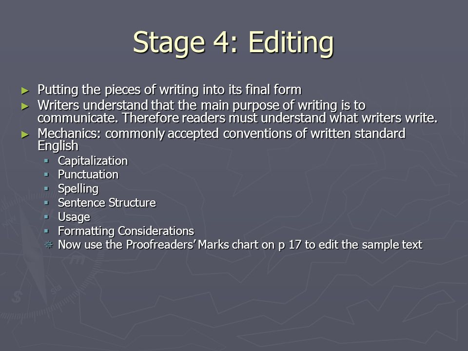 Stage 4: Editing Putting the pieces of writing into its final form