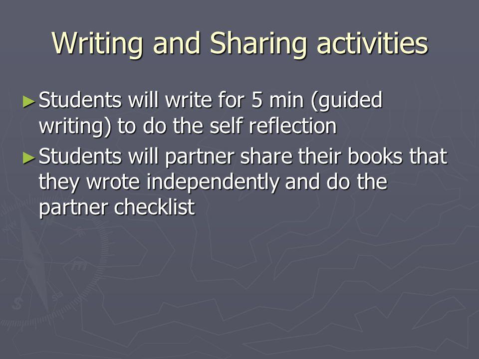 Writing and Sharing activities