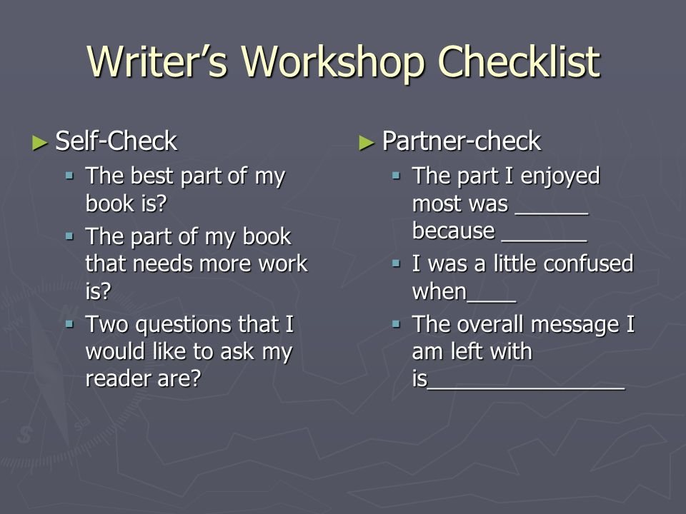 Writer's Workshop Checklist