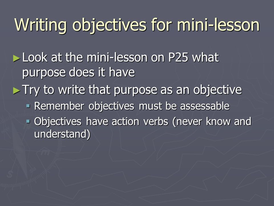Writing objectives for mini-lesson