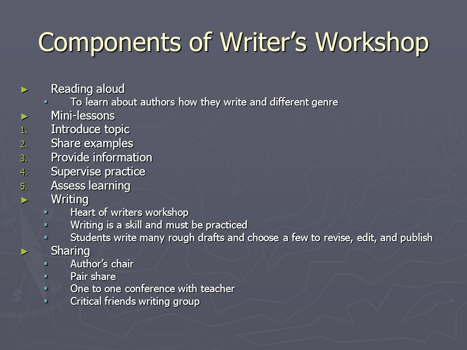 Components of Writer's Workshop